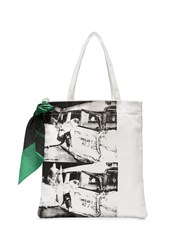 Calvin Klein 205W39nyc Museum Print Cotton Canvas Tote Bag White