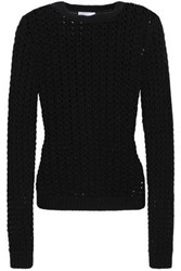Red Valentino Redvalentino Woman Open Knit Wool And Cashmere Blend Sweater Black