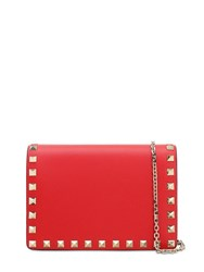 Valentino Rockstud Embellished Leather Pouch Rouge Pudre