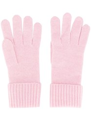 N.Peal Ribbed Knit Gloves Pink