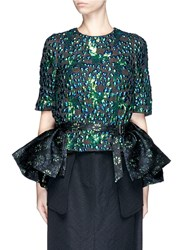 Dries Van Noten 'Sinti' Floral Emerald Jacquard Peplum Belt Black Metallic