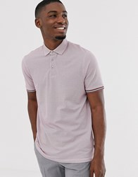 Ted Baker Polo Shirt With Texture And Tipping Pink