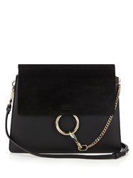 Chloe Faye Medium Leather And Suede Shoulder Bag Black