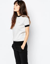 Fred Perry Tonal Polka Dot Fitted Jumper White