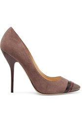Jimmy Choo Snake Trimmed Suede Pumps Charcoal