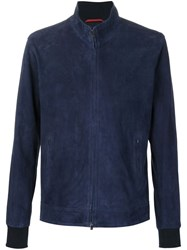 Isaia Perforated Suede Jacket Blue