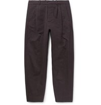 Fanmail Tapered Pleated Organic Cotton Trousers Black
