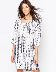 Ichi Digital Print 3 4 Sleeve Shift Dress White