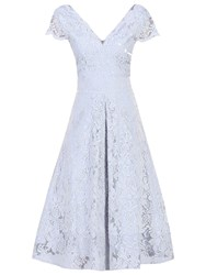 Jolie Moi Cap Sleeve Lace Prom Dress Grey