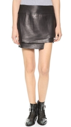 Helmut Lang Petal Leather Miniskirt Black