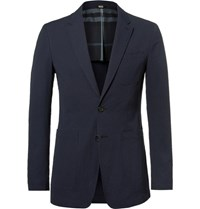 Burberry Blue Stretch Cotton Seersucker Blazer Navy