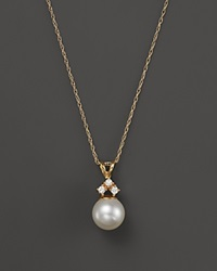 Bloomingdale's Cultured Freshwater Pearl And Diamond Pendant Necklace In 14K Yellow Gold 18 White