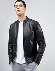 Solid Leather Biker Jacket With Quilting 9000 Black