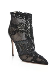 Valentino Pointy Toe Lace Booties Black