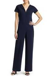 Women's Lafayette 148 New York Punto Milano Front Zip Wing Collar Jumpsuit