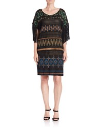 Rachel Zoe Fringed Printed Shift Dress Blue Green