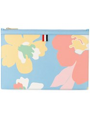 Thom Browne Floral Clutch Bag Women Cotton Leather One Size Blue