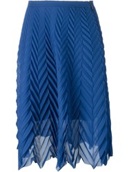 Msgm Chevron Pleated Skirt Blue