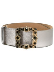 Dolce And Gabbana Jewel Buckle Belt Grey