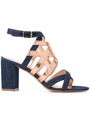 Jean Michel Cazabat Metallic Strap Denim Sandals Women Cotton Leather 41 Blue