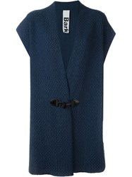 Bark Toggle Fastening V Neck Cardi Coat Blue