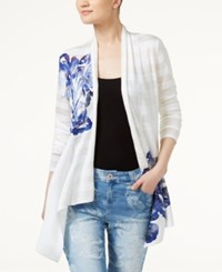 Inc International Concepts Floral Print Cardigan Only At Macy's Bright White