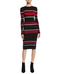 Cupcakes And Cashmere Jaslene Striped Long Sleeve Sweater Dress Black