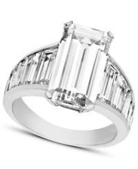 Arabella Sterling Silver Ring Swarovski Zirconia Emerald Cut Ring 14 1 4 Ct. T.W.
