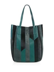 Derek Lam Bond Leather Suede And Calf Hair Tote Serpentine