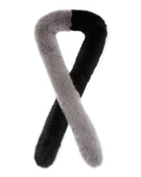 Charlotte Simone Two Tone Fox Fur Candy Cane Scarf Black Gray Blk Grey
