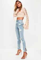 Missguided Blue Highwaisted Ripped Skinny Jeans