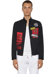 Dsquared Zip Up Cotton Twill Chino Jacket Black