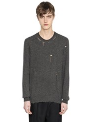 Lanvin Destroyed Crewneck Wool Blend Sweater