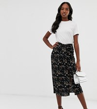 Fashion Union Tall Midi Skirt With Ruched Detail In Floral Berry Floral Black