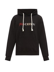 J.W.Anderson Jw Anderson Embroidered Logo Hooded Cotton Jersey Sweatshirt Black