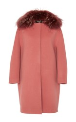 Paule Ka Double Faced Wool Coat Pink