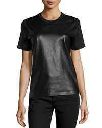 Reed Krakoff Leather Crewneck Tee Black