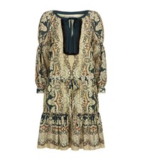 Etro Print Silk Tiered Peasant Dress Female Green