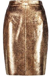 Raoul Metallic Cracked Leather Pencil Skirt Gold