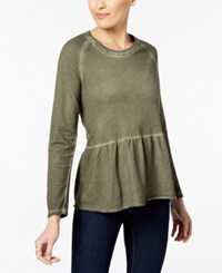 Style And Co Peplum Flounce Top Created For Macy's Olive Sprig