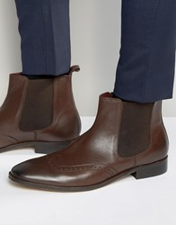 Dune Chelsea Brogue Boots In Brown Leather Brown