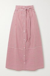 Maje Striped Cotton Poplin Midi Skirt Red