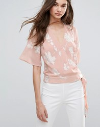 Lipsy Embroided Wrap Front Blouse Nude Pink