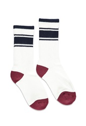 Forever 21 Striped Trim Crew Socks Cream Navy