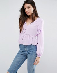 Asos V Neck Blouse With Ruffle Front And Pep Hem Pale Lilac Purple