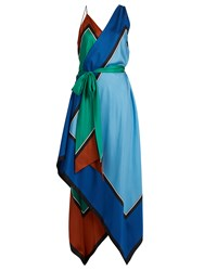 Diane Von Furstenberg Asymmetric Scarf Print Silk Dress Blue Multi