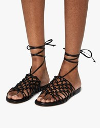 Alumnae Knotted Ankle Wrap Sandal Black