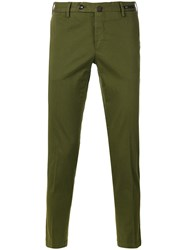 Pt01 Slim Fit Cropped Trousers Green
