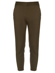 Alexander Mcqueen Zip Detail Cropped Chino Trousers Green