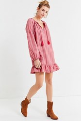 Urban Outfitters Uo Striped Tassel Tunic Dress Red Multi